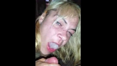 Drunk As Fuck Bitch Swallows A Big Load Of Cum